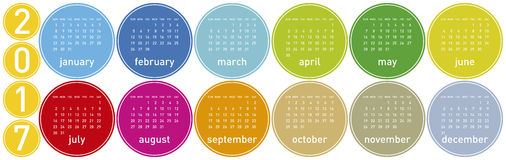 Colorful Calendar for year 2017 in a circles theme. In vector format Stock Image