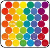 Colorful Calendar for year 2017. In a circles theme, in vector format Stock Images