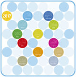 Colorful Calendar for year 2017 in a circles theme. In vector format Royalty Free Stock Photography