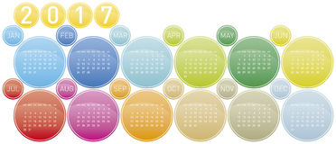Colorful Calendar for year 2017. In a circles theme, in vector format stock illustration