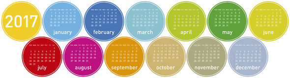 Colorful Calendar for year 2017 in a circles theme, in vector. Format Royalty Free Stock Image