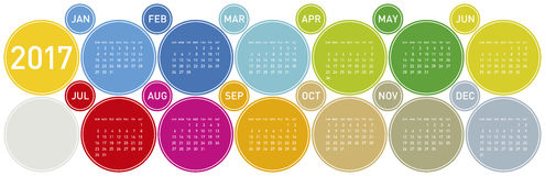 Colorful Calendar for year 2017. In a circles theme, in vector format Royalty Free Stock Photography