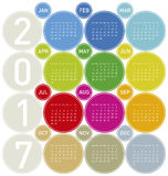 Colorful Calendar for year 2017. In a circles theme, in vector format Royalty Free Stock Image