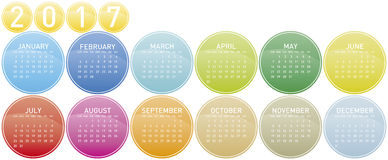 Colorful Calendar for year 2017. In a circles theme, in vector format Stock Photo