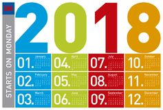 Colorful Calendar for Year 2018, in English. Week starts on Monday Royalty Free Stock Photo