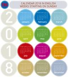 Colorful Calendar for Year 2018, in English. Week starts on Sunday Royalty Free Stock Images