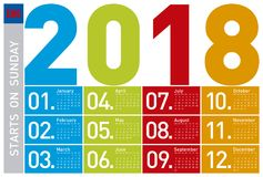 Colorful Calendar for Year 2018, in English. Week starts on Sunday Stock Photo