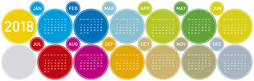 Colorful Calendar for Year 2018, in English. starts on Monday. Colorful Calendar for Year 2018, in English. Week starts on Monday Royalty Free Stock Photography