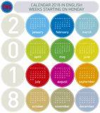 Colorful Calendar for Year 2018, in English. Week starts on Monday Royalty Free Stock Images
