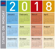 Colorful Calendar for Year 2018, in English. Week starts on Monday Stock Photography