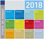 Colorful Calendar for Year 2018. Week starts on Monday. Colorful Calendar for Year 2018, in English. Week starts on Monday Royalty Free Stock Images