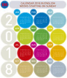 Colorful Calendar for Year 2018, in English. Week starts on Sunday.  Stock Photo