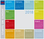 Colorful Calendar for Year 2018, in English. Week starts on Sunday Royalty Free Stock Image