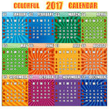 Colorful calendar for 2017 year. Pop-art syle. Set of 12 months with graphic backgrounds. Weeks start from Sunday Vector Illustration