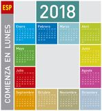 Colorful Calendar for Year 2011, in Spanish. Week starts on Monday Stock Images