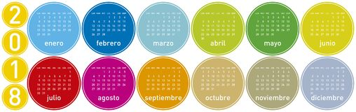 Colorful Calendar for Year 2018, in Spanish. Week starts on Monday Royalty Free Stock Photo