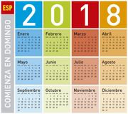 Colorful Calendar for Year 2018, in Spanish. Week starts on Sunday Royalty Free Stock Image