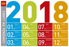 Colorful Calendar for Year 2018, in Spanish. Week starts on Monday Royalty Free Stock Images