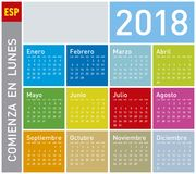 Colorful Calendar for Year 2018, in Spanish. Week starts on Monday Royalty Free Stock Image