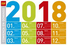 Colorful Calendar for Year 2018, in Spanish. Week starts on Sunday Stock Photography