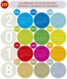Colorful Calendar for Year 2018, in Spanish. Week starts on Sunday.  Royalty Free Stock Photo