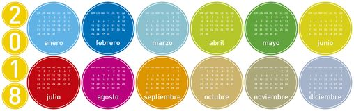 Colorful Calendar for Year 2018, in Spanish. Week starts on Sunday Royalty Free Stock Images