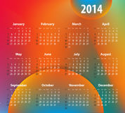 Colorful calendar for 2014 year. Sundays first. Vector Illustration royalty free illustration