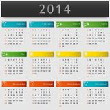 Colorful calendar 2014 year Stock Images