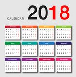 Colorful Calendar year 2018 vector design template. Simple and clean design. Calendar for 2018 on White Background for organization and business. Week Starts Stock Photo