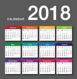 Colorful Calendar year 2018 vector design template. Simple and clean design. Calendar for 2018 on White Background for organization and business. Week Starts Royalty Free Stock Photography
