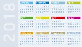 Colorful Calendar for Year 2018. In vector format Stock Photos