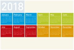 Colorful Calendar for Year 2018, in vector format stock photo