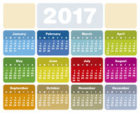 Colorful Calendar for Year 2017 Stock Images