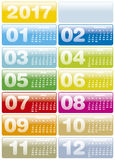 Colorful Calendar for Year 2017 Stock Photography