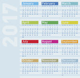 Colorful Calendar for Year 2017 Stock Image