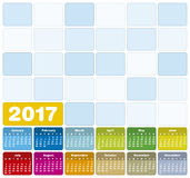 Colorful Calendar for Year 2017 Royalty Free Stock Photos