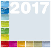 Colorful Calendar for Year 2017 Royalty Free Stock Image