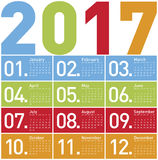 Colorful Calendar for Year 2017. In vector format Vector Illustration