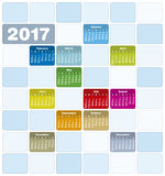 Colorful Calendar for Year 2017 Royalty Free Stock Photography