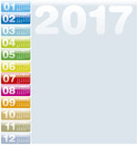 Colorful Calendar for Year 2017,. In vector format Stock Illustration