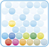 Colorful Calendar for year 2017 in vector format. Colorful Calendar for year 2017 in a circles theme, in vector format Stock Photo