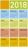 Colorful Calendar for Year 2018, in vector format stock image
