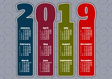 Colorful calendar for 2019 year royalty free illustration