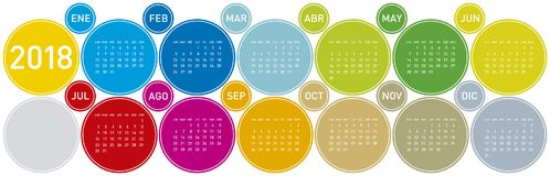 Colorful Calendar for Year 2018, Week starts on Mond. Colorful Calendar for Year 2018, in Spanish. Week starts on Monday Stock Photo