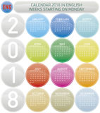 Colorful Calendar for Year 2018, Week starts on Monday. Colorful Calendar for Year 2018, in English. Week starts on Monday Royalty Free Stock Image