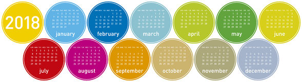 Colorful Calendar for Year 2018, Week starts on Sunday. Colorful Calendar for Year 2018, in English. Week starts on Sunday Royalty Free Stock Image