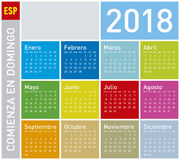 Colorful Calendar for Year 2018, Week starts on Sunday. Colorful Calendar for Year 2018, in Spanish. Week starts on Sunday Stock Images