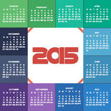 Colorful 2015 calendar. For your design. Week starts on Sunday Royalty Free Stock Image