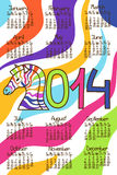 Colorful Calendar 2014 with zebra Stock Image