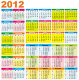 Colorful calendars for 2012. Colorful calendars  for 2012. starts Sunday Royalty Free Stock Photos